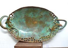 """Items similar to OOAK. Unique, handmade, one of a kind, bronze """"Double Chameleons Lizards display tray """". on Etsy Ceramic Plates, Ceramic Pottery, Ceramic Art, Pottery Designs, Pottery Ideas, Pottery Handbuilding, Stoneware Dinnerware, Metal Projects, Bronze Sculpture"""