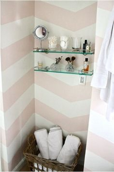 the light pink chevron would be adorable in a little girl's room or a big girl's walk in closet :) (unfortunately i can't find the original source)