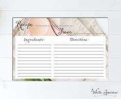 Recipe Card, Bridal shower, Bridal Shower Recipe Card, Bridal shower decorations, Kitchen Recipe, Wedding shower, kitchen tea recipe card by WhiteSparrowPrints on Etsy Tea Recipes, Kitchen Recipes, Bridal Shower Decorations, Recipe Cards, Handmade Gifts, Wedding, Etsy, Handcrafted Gifts, Valentines Day Weddings