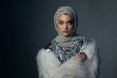 Discover unsurpassed glamour with the Celestial Silver hijab. Custom-designed crystal embellishments adorn the caplette for a royal look, paired with two opulent silver hijabs for infinite styling options. Wedding Hijab Styles, Disney Wedding Dresses, Pakistani Wedding Dresses, Street Hijab Fashion, Abaya Fashion, Muslim Fashion, Hijab Chic, Hijabs, Beau Hijab