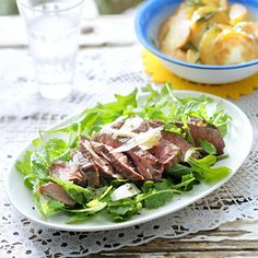 Recept - Biefstuk tagliata met rucola en parmezaan - Allerhande
