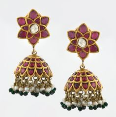 A PAIR OF RUBY 'JHUMKA' EAR PENDANTS          Each designed as a hemisphere, kundan-set with rubies, suspending a fringe of seed pearls and emerald beads, to a similarly set surmount designed as a flower head, with a table-cut 'polki' diamond center, with a total gemstone weight of approximately 20.00 carats, a total diamond weight of approximately 0.75 carats, and a total pearl weight of approximately 4.00 grams, mounted in gold.