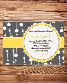 Bridal Shower Invitation, Wedding shower Invitation Digital, Baby Shower Invitation, Yellow, Gray Shower Invitation,digital,printable (6013)