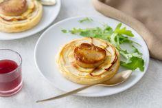 Recette de Tarte fine de pomme et foie gras, coulis de porto