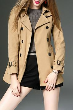 $99.99 Beige Double-breasted Pockets Trenchcoat