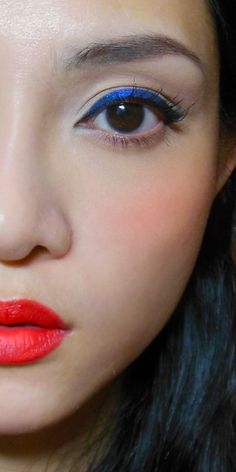 """Cobalt Wing: Graphic """"Duochrome"""" Liner and Poppy-red Lips (for a funky Valentine's)"""