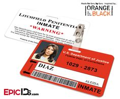 Orange is the New Black Inspired Litchfield Penitentiary Inmate Wearable ID Badge - Diaz, Aleida