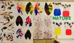 Our nature wall  Leaf prints  Potpourri flowers in a vase  Trees with sticks and pom poms