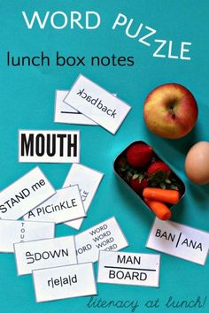 Word puzzle lunch box notes for literacy at lunch!