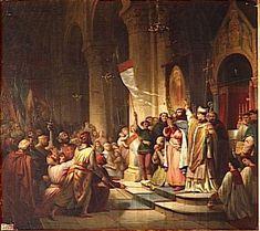 """""""... αρχηγός των φεουδαρχών ορίστηκε ο Βονιφάτιος ο Μομφερρατικός."""" Εδώ βλέπουμε τη στέψη του Βονιφάτιου ως αρχηγού της Δ΄ Σταυροφορίας.Πρόκειται για έργο του Henri Decaisnie (1840) που σήμερα βρίσκεται στο Παλάτι των Βερσαλλιών."""