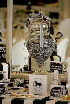 Striking black and white candy buffet