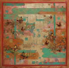 """""""Butterflies and birds  restlessly they rise up  a cloud of flowers""""  Matsuo Basho  (1644 ~1694)  (featuring the Eltham Copper Butterfly)  Mixed Media on Canvas  122cm x 122cm  2014  Nerina Lascelles  Tumblr"""