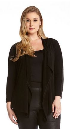 BLACK PLUS SIZE FAUX LEATHER CUFF CARDIGAN #Chic #Black #Faux #Leather #Cuff #Plus #Size #Womens #Fall #Winter #Plus #Size #Fashion