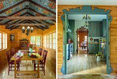 Interior rustic decorat cu picturi colorate