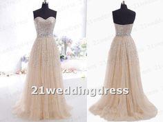 Hot Sales Sweetheart Sliver Sequined Tulle Champagne Wedding Dress,A Line Beaded Belt Bridal Wedding Dress,Fashion Evening Prom Dress