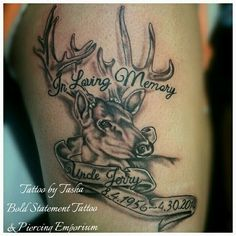 Deer hunting memorial tattoo