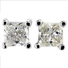 14k White Gold 1ctw Diamond Inclusions Visible To The Naked Eye Stud Earrings | Property Room