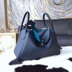 Hermes Lindy 30cm Taurillon Clemence Calfskin Bag Handstitched, Blue Saphir CK73/Blue Izmir 7W - Shop Ms Fashion Junkie