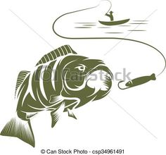 EPS Vectors of illustration of fisherman in a boat and big mouth ...