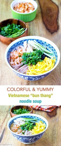Vietnamese bun thang is a very delicious, sophisticated, and comforting Vietnamese rice noodle soup with shredded chicken, eggs and pork toppings. The toppings have different textures and flavors, making this noodle soup really fun to eat.