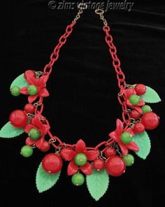 Vintage old Cherry RED green BAKELITE Bead celluloid Flower charm chain NECKLACE #VintageNecklace