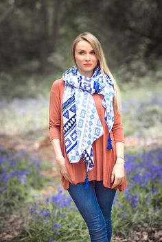 Summer Shawl Scarf Wrap Pretty Blues Print Fabric Shoulder Warmer Cover up with mini tassel fringe SHIPS TODAY by KnitPlayLove on Etsy