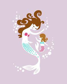 11X14 mermaid mother & daughter. giclee print on by ThePaperNut, $25.00