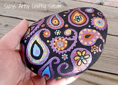 Hand painted Stone paisley purple gold copper by SuzysSitcomStore, $12.00