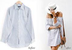 Просто и стильно: платье с открытыми плечами из мужской рубашки