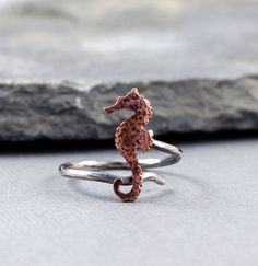 Seahorse copper adjustable ring, Beach Jewelry, Ocean Jewelry, Gifts for Her, Metalwork, MADE to ORDER on Etsy, $42.00