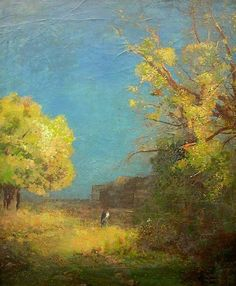 Odilon Redon  (Fr. 1840-1916) French summer landscape (c. 1887) Oil on paper gleed on cardboard (49 x 45 cm)