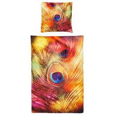 Ein wahres Feuerwerk an Farben entfacht die amerikanische Künstlerin und Fotografin Sylvia Cook auf dieser traumhaft schönen Bettwäsche mit dem hochwertigen Digitalprint einer edlen Pfauenfeder.