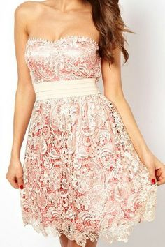 Apricot Strapless Hollow Embroidered Lace Dress  idea for repurposing wedding dress