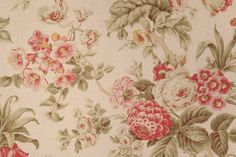Braemore Floral Printed Cotton Drapery Fabric in Antique $8.95 per yard