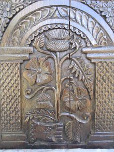 17TH CENTURY  STYLE OAK CARVED THISTLE  PANEL #Gothic #Coffers