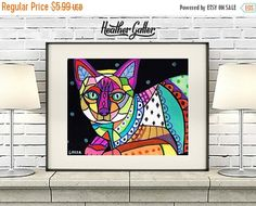 45% Off Today- DIGITAL Print File - Siamese CAT Folk art Poster Print of painting by Heather Galler (Hg837)