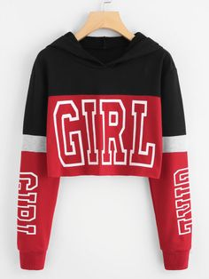 Girl Print Color Block Hoodie Description Occasion: Weekend Casual Letter Color: Multicolor Neckline: Round Neck Fabric: Fabric has some stretch Fit Type: Hoodie Crop Length: Crop Season: Fall Teenage Girl Outfits, Teen Fashion Outfits, Fashion Mode, Teenager Outfits, Outfits For Teens, Fashion Styles, Crop Top Outfits, Cute Casual Outfits, Swag Outfits