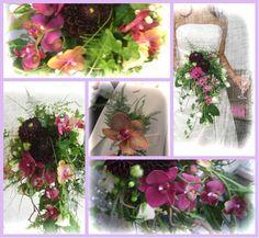 Vill brudebukett med en spesiell og utfordrende kombinasjon av mørkt og lyst. Hovedsaklig orchidè, hvite grenroser og mørke georginer.