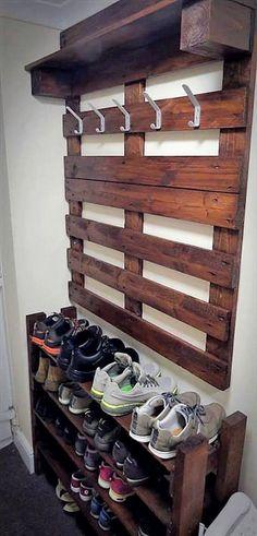 pallet wood hanger and shoe rack