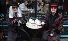 Goths take a tea break during the Whitby Gothic Weekend, 2012 (ph: Christopher Furlong/Getty Images)