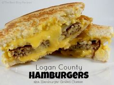 Logan County Hamburgers (aka: Hamburger Grilled Cheese) recipe from The Best… Think Food, I Love Food, Good Food, Yummy Food, Hamburger Recipes, Beef Recipes, Cooking Recipes, Recipies, Cheese Recipes
