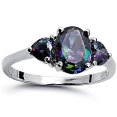 925 Sterling Silver Ring Rainbow CZ-Oval Center Stone  Heart Shape-Face Height: 8 mm (Jewelry) http://documentaries.me.... B007TC6RX6