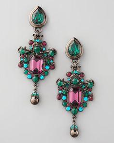 Green & Teal Drop Earrings by Jose & Maria Barrera