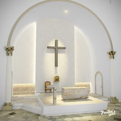 Diseño interior y render de altar para iglesia catolica on Behance