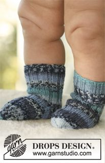 """DROPS socks in """"Fabel"""". ~ DROPS Design, Free Baby Knitting Pattern Knit Socks"""