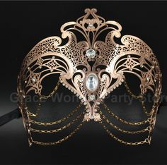 Luxury Gold&Rose Gold&Sliver Laser Cut Venetian Masquerade masks with Chain Metal Eye Mask Christmas Mask With Rhinestones -in Party Masks from Home & Garden on Aliexpress.com | Alibaba Group