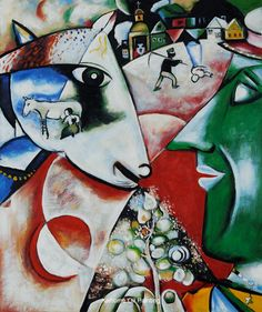 I and the Village by Marc Chagall abstract oil paintings reproduct, realist Jewish painter chagall figure oil paintings gift