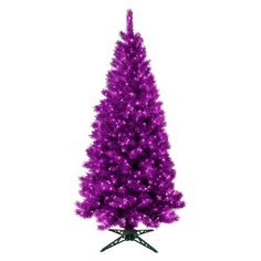 7 ft. Pre-Lit Translucent Amethyst Artificial Christmas Tree- Clear Lights