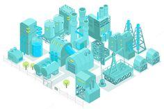 Factory, plant isometric set by Kalinin on @creativemarket