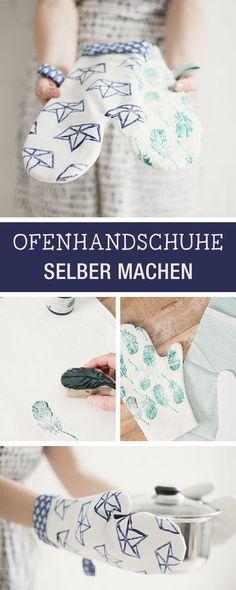 Kostenlose Nähanleitung und Schnittmuster für praktische Ofenhandschuhe / diy sewing pattern for oven gloves via DaWanda.com